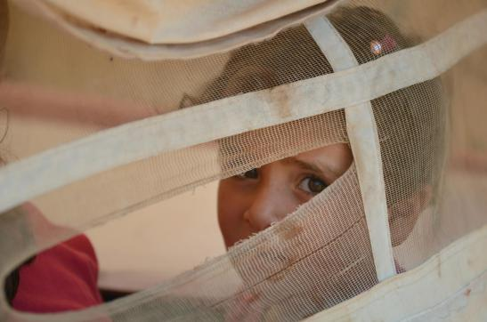© UNICEF/NYHQ2013-0494/JOHN WREFORD A child looks through the opening of a tent shelter in the Atmeh camp for displaced people.